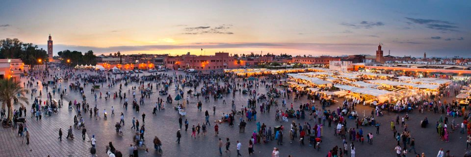 Morocco, Place Djemaa El Fna Square, Marrakech, panoramic photography by travel photographer Matthew Williams-Ellis